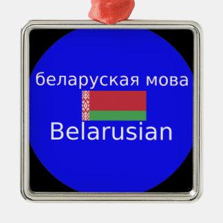 Ornement Carré Argenté Drapeau du Belarus et conception de langue