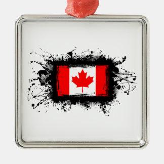 Ornement Carré Argenté Drapeau du Canada