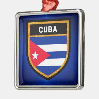 Ornement Carré Argenté Drapeau du Cuba