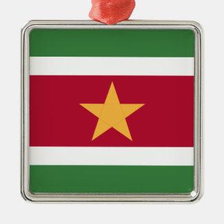 Ornement Carré Argenté Drapeau du Surinam