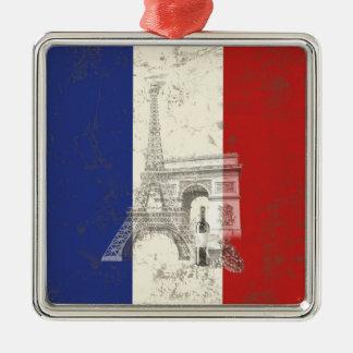Ornement Carré Argenté Drapeau et symboles de la France ID156