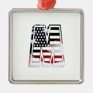 Ornement Carré Argenté Drapeau patriotique des Etats-Unis d'initiale de
