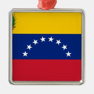 Ornement Carré Argenté Drapeau vénézuélien - drapeau du Venezuela - le
