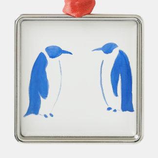 Ornement Carré Argenté Duo bleu de pingouin