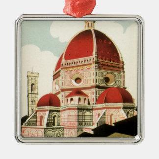 Ornement Carré Argenté Duomo vintage d'église de Florence Firenze Italie