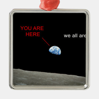 Ornement Carré Argenté Earth from the Moon - You are here