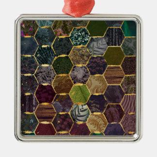 Ornement Carré Argenté échelles de sirène de nid d'abeilles