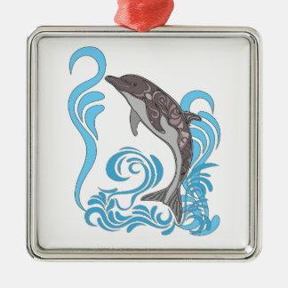 Ornement Carré Argenté Éclaboussement de dauphin