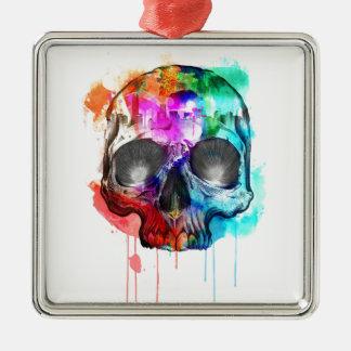 Ornement Carré Argenté Éclaboussure de peinture de crâne