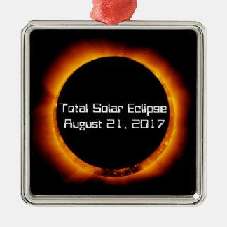 Ornement Carré Argenté Éclipse 2017 solaire totale