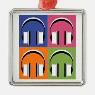 Ornement Carré Argenté écouteurs dans des couleurs lumineuses