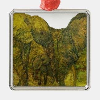 Ornement Carré Argenté ELEPHANT VERT1.png
