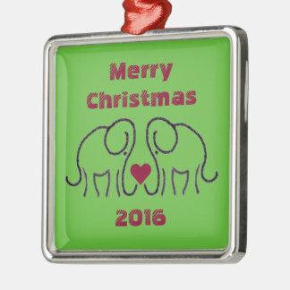 Ornement Carré Argenté Éléphants avec l'ornement de Noël customisé par