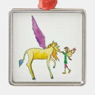 Ornement Carré Argenté Elf avec un cheval jaune de poney d'Alicorn