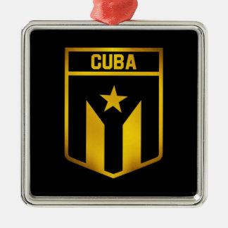 Ornement Carré Argenté Emblème du Cuba
