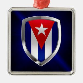Ornement Carré Argenté Emblème du Cuba Mettalic