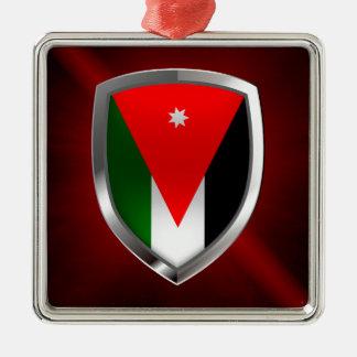 Ornement Carré Argenté Emblème métallique de la Jordanie