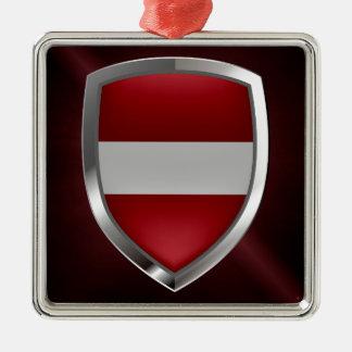 Ornement Carré Argenté Emblème métallique de la Lettonie