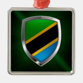 Ornement Carré Argenté Emblème métallique de la Tanzanie