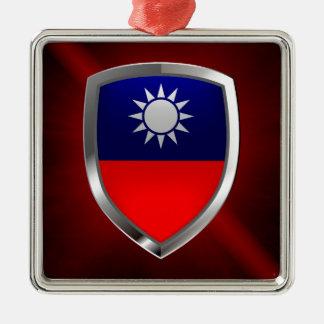 Ornement Carré Argenté Emblème métallique de Taïwan