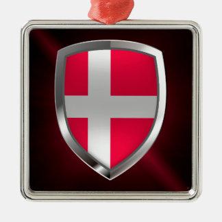 Ornement Carré Argenté Emblème métallique du Danemark