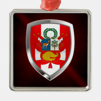 Ornement Carré Argenté Emblème métallique du Pérou