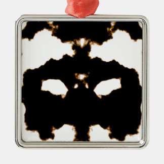 Ornement Carré Argenté Essai de Rorschach d'une carte de tache d'encre