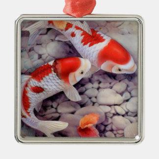 Ornement Carré Argenté Étang à poissons rouge et blanc de Koi