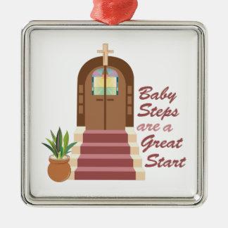 Ornement Carré Argenté Étapes de bébé