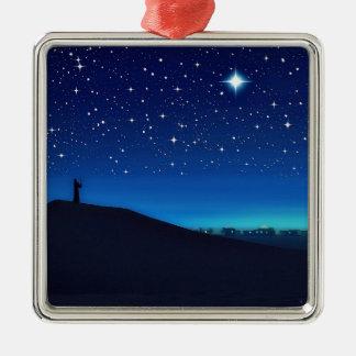 Ornement Carré Argenté Étoile d'ornement de carré de prime de Bethlehem