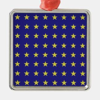 Ornement Carré Argenté Étoiles d'or sur le motif bleu de couleurs d'UE