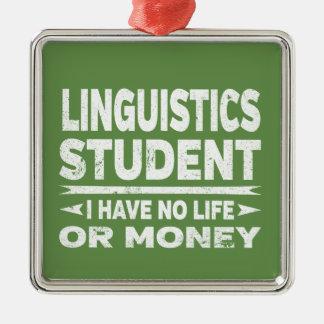 Ornement Carré Argenté Étudiant universitaire de linguistique je n'ai