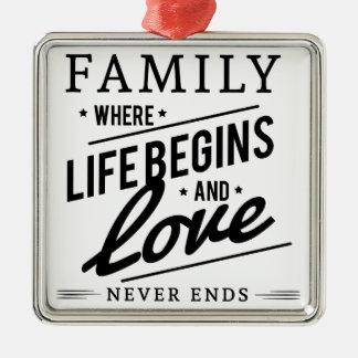 Ornement Carré Argenté famille