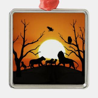 Ornement Carré Argenté Famille de lion au coucher du soleil Afrique