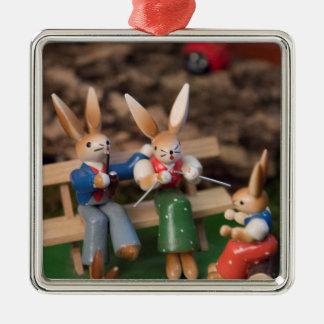 Ornement Carré Argenté Famille Pâques de lapin