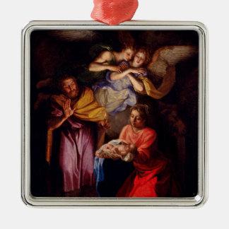 Ornement Carré Argenté Famille sainte avec des anges par Coypel