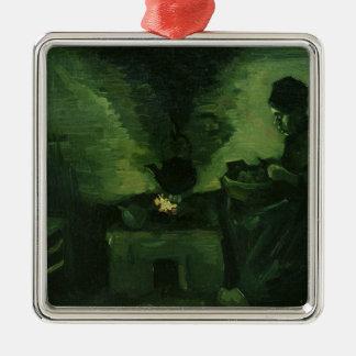 Ornement Carré Argenté Femme rurale de Vincent van Gogh | par le foyer