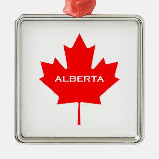 Ornement Carré Argenté Feuille d'érable d'Alberta Canada
