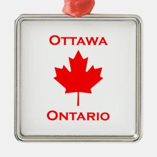 Ornement Carré Argenté Feuille d'érable d'Ottawa Ontario