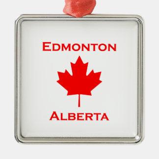 Ornement Carré Argenté Feuille d'érable rouge d'Edmonton Alberta