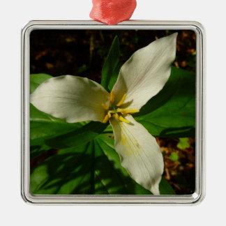 Ornement Carré Argenté Fleur sauvage blanc de ressort de fleur de