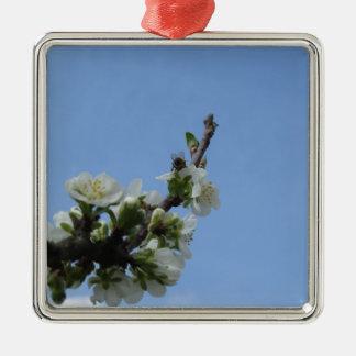 Ornement Carré Argenté Fleurs d'impollinates d'abeille de prunier