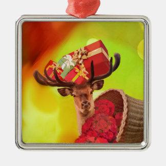 Ornement Carré Argenté Fleurs et cerfs communs de cadeaux
