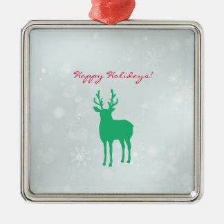 Ornement Carré Argenté Flocon de neige vert de renne d'Antler de vacances