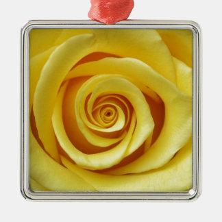 Ornement Carré Argenté Floral jaune