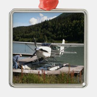 Ornement Carré Argenté Flottez plat, lac trail, Alaska 2