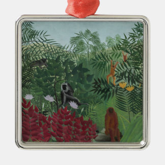 Ornement Carré Argenté Forêt tropicale de Rousseau avec des singes