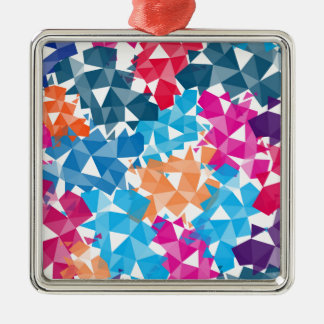 Ornement Carré Argenté Formes 3D géométriques colorées