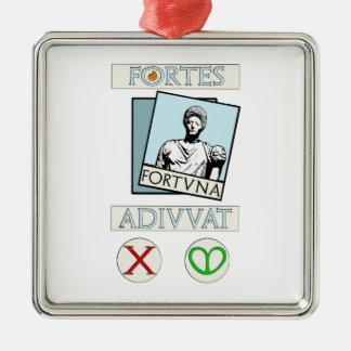 Ornement Carré Argenté Fortes Fortuna Adiuvat