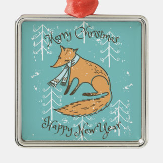 Ornement Carré Argenté Fox de vacances de Joyeux Noël confortable